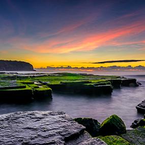 calm by Anton Subiyanto - Landscapes Beaches ( clouds, water, dawn, sunset, twilight, long exposure, beach, sunrise, landscape, dusk, rocks, slow shutter )