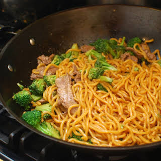 Stir-Fried Lo Mein With Beef and Broccoli.