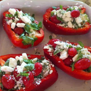 Baked Stuffed Red Peppers With Cherry Tomatoes, Feta, and Thyme.
