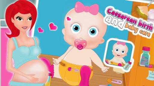 Caesarean birth baby girl care