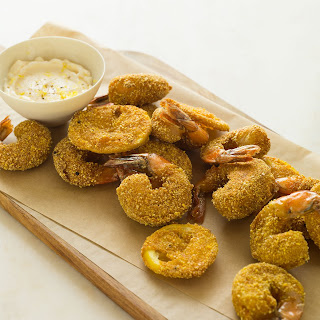 Cornmeal Crusted Mustard Shrimp.