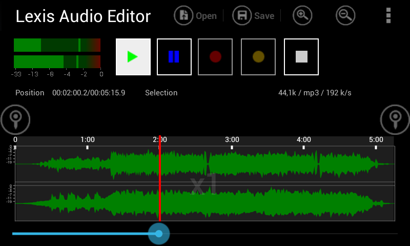 Lexis Audio Editor: captura de tela