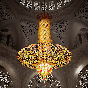 Chandeliers paradise by Ashraf Ahmed Habib - Buildings & Architecture Other Interior ( lights, interior, chandelier, mosque, uae, abu dhabi, gold, paradise )