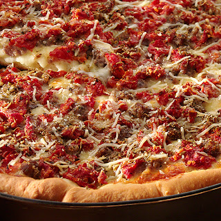 Deep-dish Cheese and Sausage Pizza