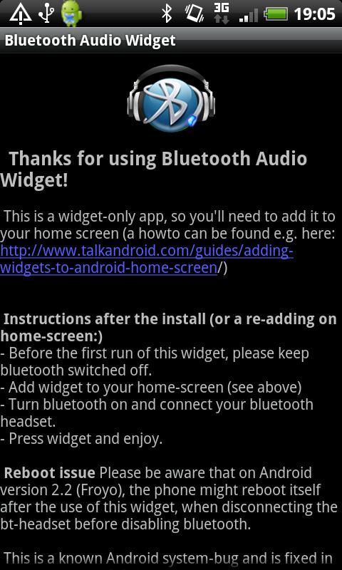 Bluetooth Audio Widget - screenshot