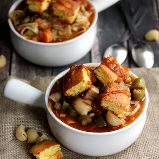 Creole Pasta Soup with Cornbread Croutons