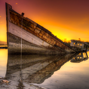 Sinking by Lawrence Chung - Transportation Boats ( water, sinking, hdr, retired, damage, device, old ship, transportation, wrecked, abandoned )
