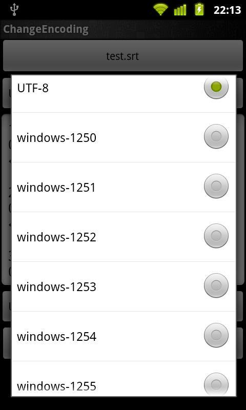 Change Encoding- screenshot