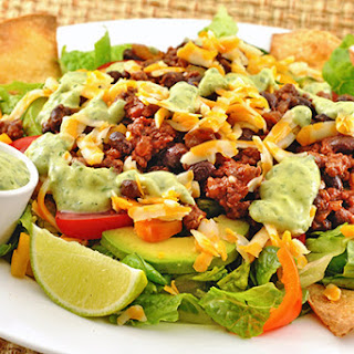 Taco Salad with Avocado-Cilantro Dressing.