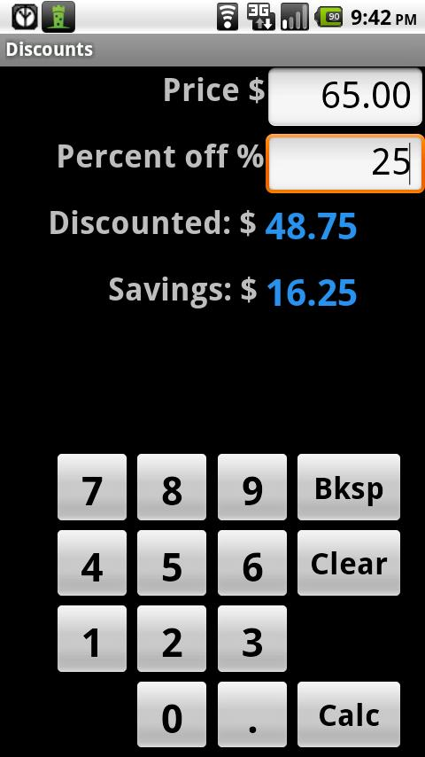 Discount Calculator- screenshot