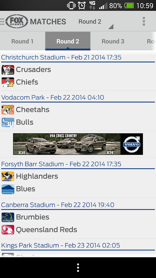Super Rugby Match Centre - screenshot