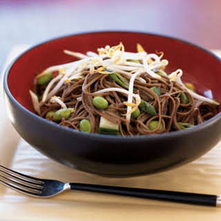Spicy Cucumber Noodle Salad with Edamame.