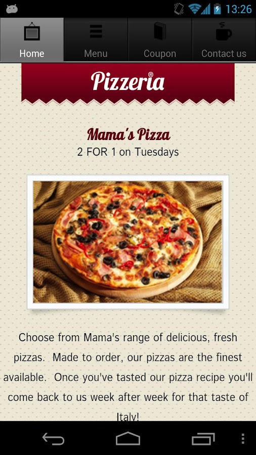 Pizza Restaurant App- screenshot