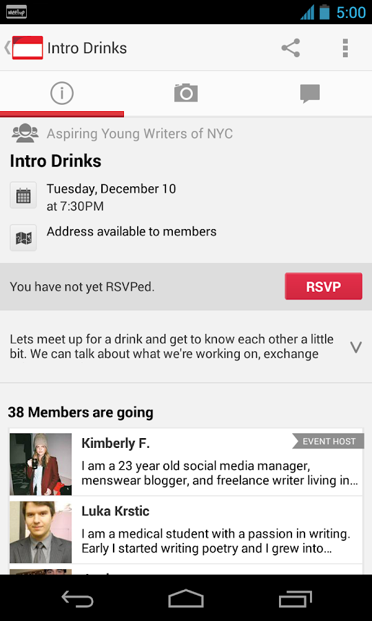 Meetup - screenshot