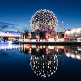 Science World by Scott Hemenway - City,  Street & Park  Night ( nikon d800, nikon 24-70 2.8, sdhpics, long exposure, landscape, vancity, gvrd, science world, vancouver, downtown, bc place )
