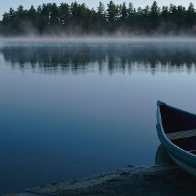 Boat on Water by Drew Campbell - Landscapes Waterscapes
