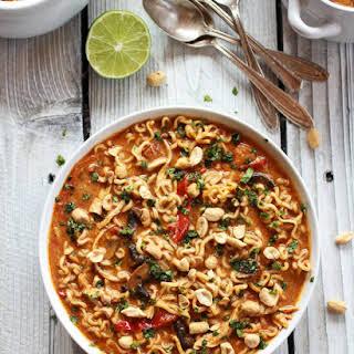 Thai Peanut Chicken and Ramen Noodle Soup.