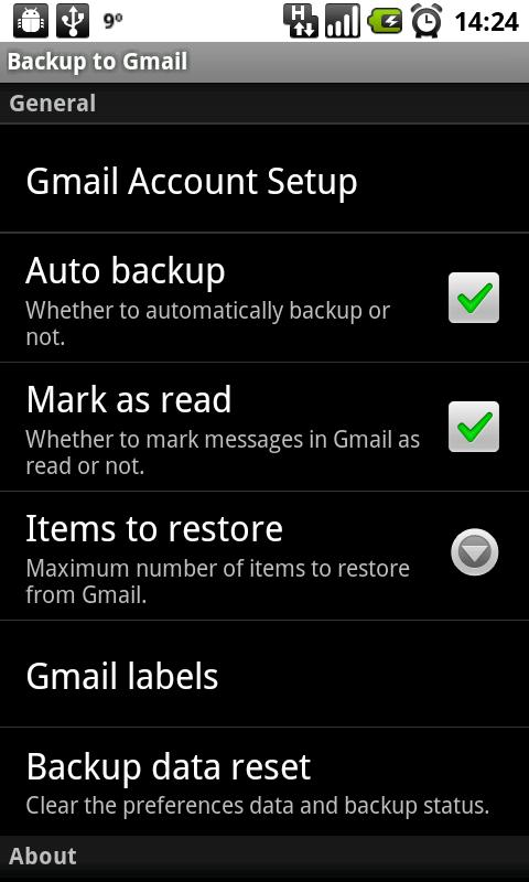 Backup to Gmail - screenshot