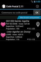 Screenshot of Codes Postaux