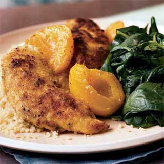Chicken Tenders with Apricots and Sautéed Spinach.