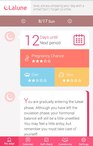 Period Tracker Lalune - screenshot