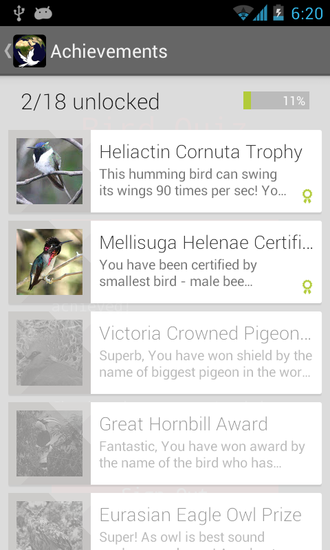 National Bird Quiz- screenshot