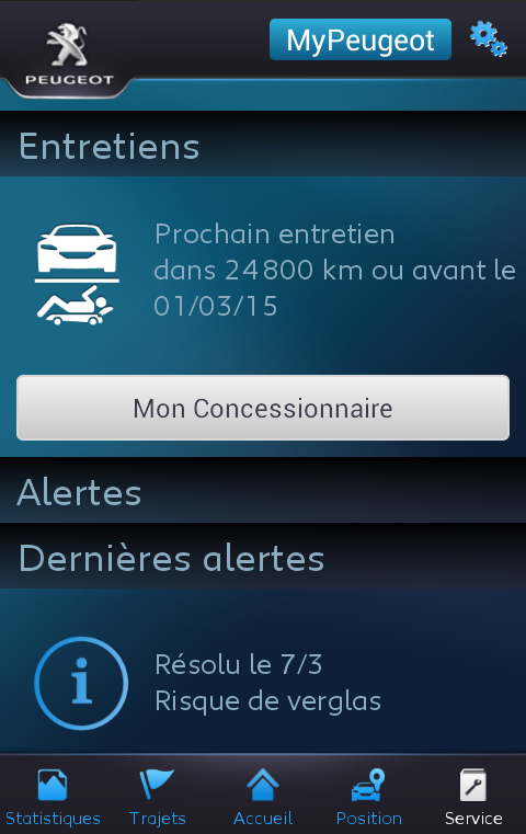 Link MyPeugeot- screenshot