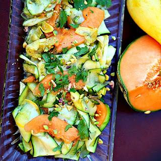 Zucchini, Yellow Squash and Cantaloupe Salad