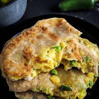 Spiced Potato and Pea Parathas.