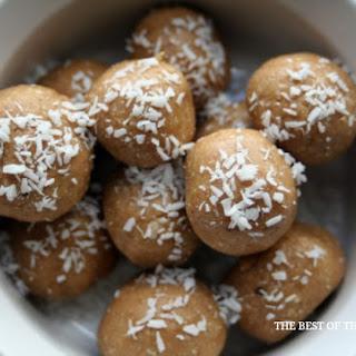 Healthy Peanut Butter Coconut Bites.