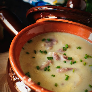 Cheesy Cauliflower and Ham Soup.