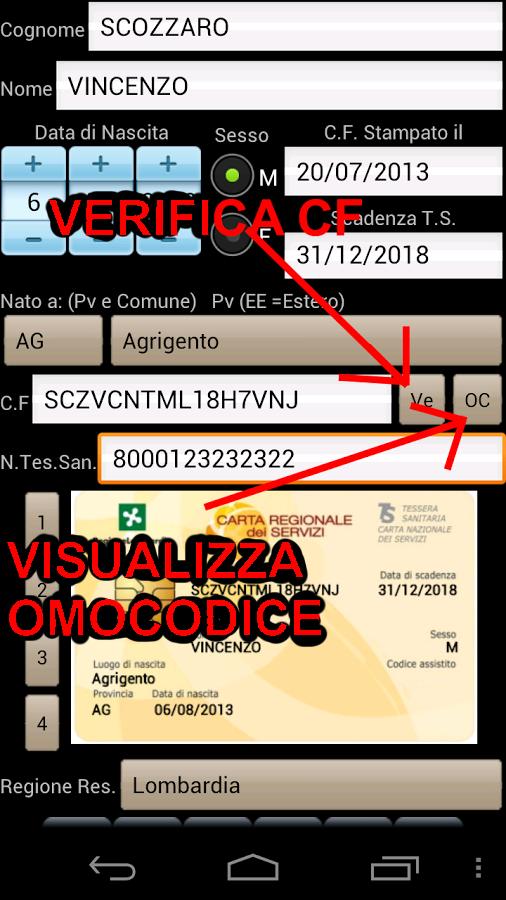 Codice Fiscale Tess. Sanitara - screenshot