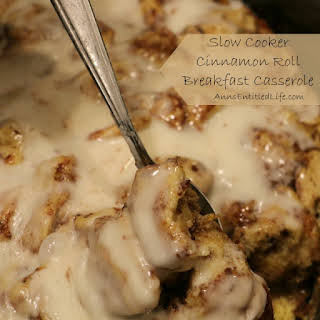 Slow Cooker Cinnamon Roll Breakfast Casserole.