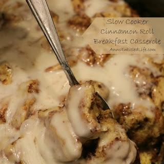 Slow Cooker Cinnamon Roll Breakfast Casserole.