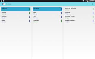 Screenshot of Gradebook for Students