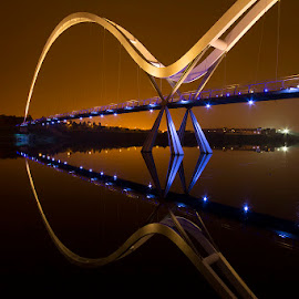 Reflecting on Infinity by Paul Telford - Buildings & Architecture Bridges & Suspended Structures ( water, uk, bridge, stockton on tees, paul telford photography, infinity, infinity bridge,  )