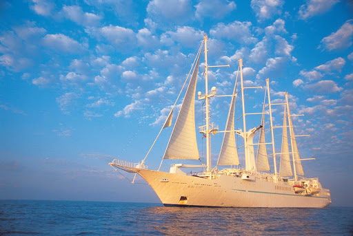 Windstar-Cruises-Wind-Star-2 - Wind Star in the late afternoon light. The ship sails with just 148 guests in 74 staterooms, all of them with an ocean view.