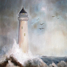 The Lighthouse by Amas Art - Painting All Painting ( lighthouse, seaside, storm )