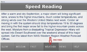 Screenshot of Speed Reading Application
