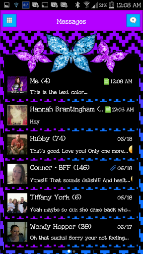 GO SMS - Cute Butterfly 6