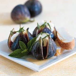 Fresh Figs with Mascarpone, Mint and Italian Honey.