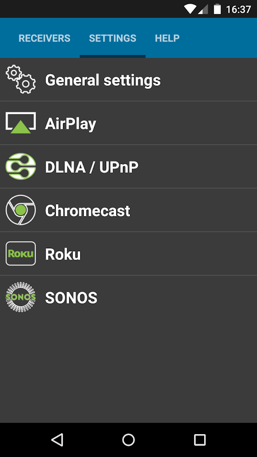 AirPlay DLNA SONOS Chrome Roku - screenshot
