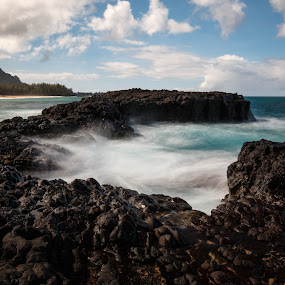 Kauai Beach Waterscape by Sandra Woods - Landscapes Waterscapes ( kauai, nature, waterscape, ocean, beach, hawaii, , Beach, sunset, blue, water, ocean.  )