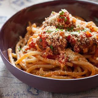 "Perciatelli Pasta with Red Quinoa ""Meatballs""."