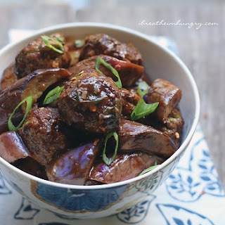 Asian Meatballs with Stir-Fried Eggplant – Low Carb and Gluten Free.