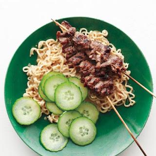 Beef Satay with Peanut-Ginger Ramen Recipe