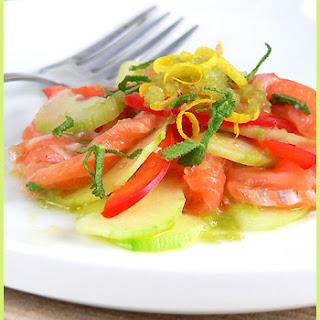 Raw Salmon with Cucumbers and Green Tea Granita.