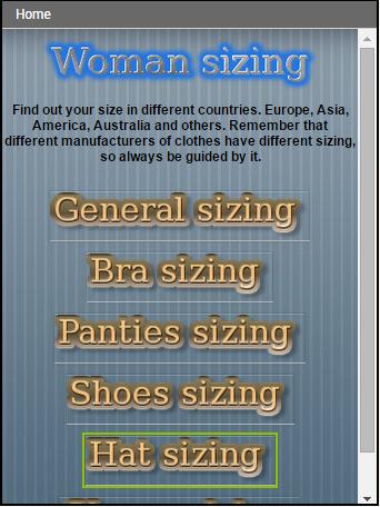 Woman sizing
