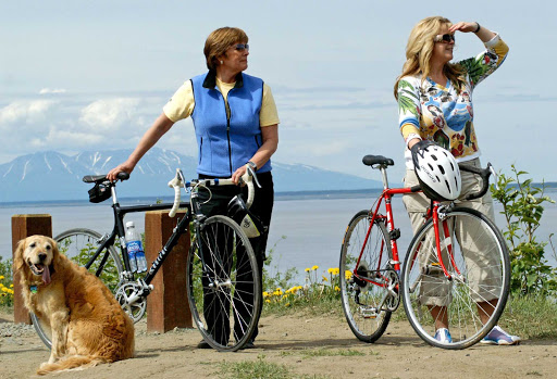 Biking on the Coastal Trail in Anchorage, Alaska.