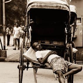 Sleep as you like by Caesar Jees - People Street & Candids ( sepia, kolkata, street, candid, people, street photography )